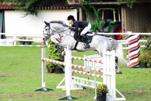 Blash RV (Cardento x Cash) jumping 1.35m classes with amazon Lisa Vabe.