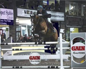 Wivianne RV (Burggraaf x Wolfgang) jumping International 1.40m classes with rider Ger O'brien.
